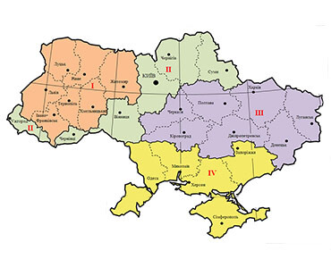 Map of light-climatic zoning of the territory of Ukraine